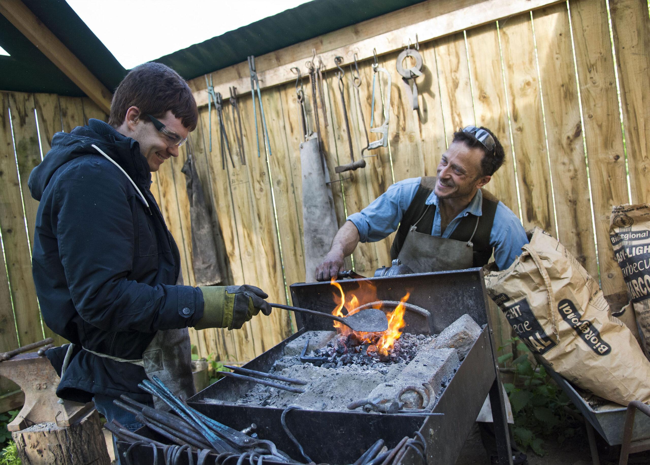 Blacksmithing lesson at Clervaux Trust